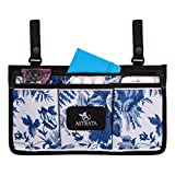 Wheelchair Side Bag - Armrest Sidebags and Wheelchair Accessories - Multiple Pockets and Organizer for Walkers, Rollators, and Wheelchairs (Blue)