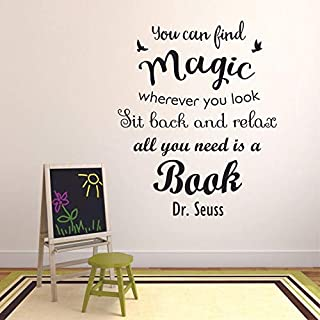 Book Reading Dr. Seuss Motivation Quotes Wall Sticker Vinyl Decal for Girls Boys Kids Library Bedroom Nursery Daycare Kind...