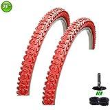 2 x maxxi4you Fahrradreifen Mantel Decke 26 x 1.95-54-559 Rot + 2 Schläuche AV