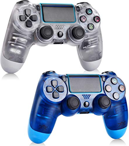 2 Pack-Game Controller for PS4,Wireless Controller for Playstation 4 with Dual Vibration Game Joystick (Transparent White and Transparent Blue)