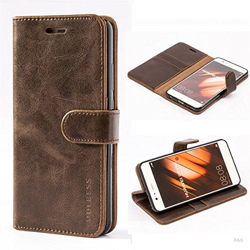 Mulbess Handyhülle für Huawei P10 Plus Hülle Leder, Huawei P10 Plus Handy Hülle, Vintage Flip Handytasche Schutzhülle für Huawei P10 Plus Hülle, Kaffee Braun