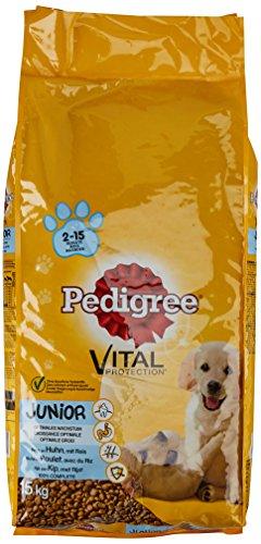 Pedigree Hundefutter Trockenfutter Junior mit Huhn und Reis, 1 Beutel (1 x 15kg)