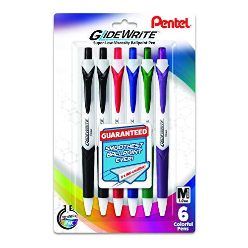 Pentel GlideWrite Ballpoint Pen with TechniFlo Ink, (1.0mm) Medium Line, Assorted Ink (2A/B/C/D/V), 6-Pk (BX910BP6M1)