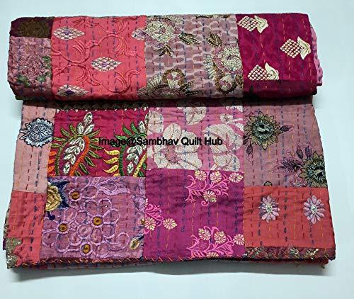 Colcha de remiendo rosa con bordado Kantha de tamaño antiguo vintage de la reina/king de tamaño kantha para el hogar decorativo Khambadiya Kantha colcha de Kantha con 2 fundas de almohadas
