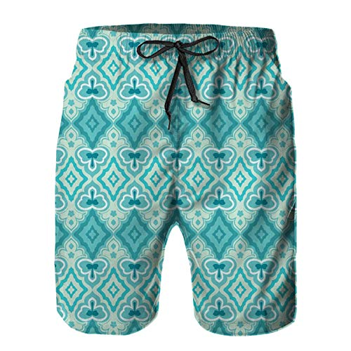 ZHIMI Men's Quick Dry Drawstring Beach Shorts Pants,Abstract Geometric Pattern Vintage Floral Design Historic Architectural Ornament,Summer Surf Long Swim Trunks Board Shorts M