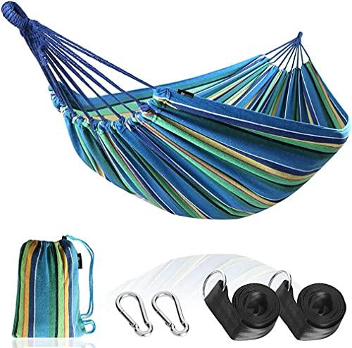 Ocuhiger Hamaca De Viaje Ultraligera Cama Portátil Camping Acampar Jardín Al Aire Libre Senderismo Playa Raya Dos Personas 200x150cm Azul Amarillo Verde