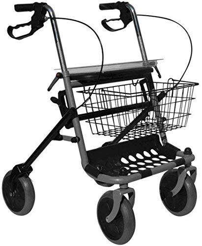 Deambulatore 4 ruote pieghevole. Rollator con freni dotato di seduta, cestino e porta bastone per anziani