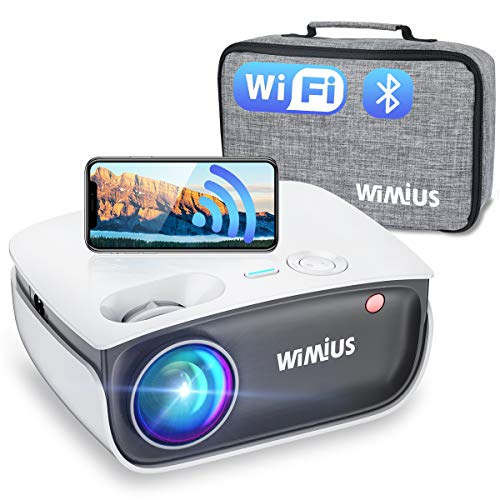 """Wifi Bluetooth Projector, WiMiUS S25 6500L HD Mini Outdoor Movie Projector, Portable Phone Projector w/ Wireless Mirroring&Zoom 50%, 1080P and 300"""" Supported for Fire Stick, HDMI, USB,TV Box, Laptop"""