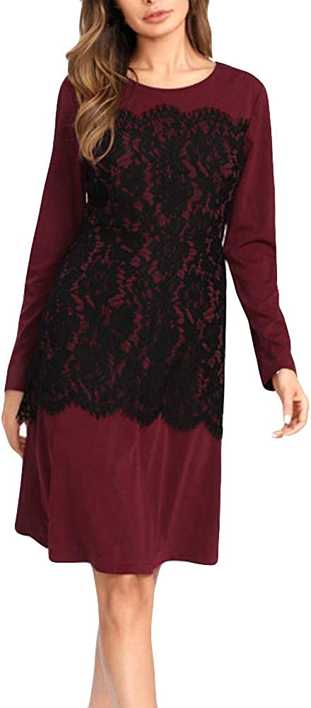 Women Dresses, Women's Casual Dress Women Lace Patchwork O-Neck Casual Long Sleeve Dress Party Casual Dresses