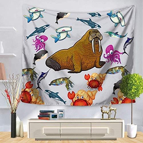 QIAO Tapices Tapices de Pared Gigante Sea Lion Personalidad Vida Marina Decoraciones para el hogar para Sala de Estar Multi Color Hippie Indio Mandala Bohemia Dormitorio Dormitorio