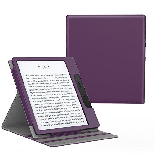 MoKo Funda Compatible con All-New Kindle Oasis (9th and 10th Generación Solo, 2017 and 2019 Release) - Superior Voltear Vertical Funda con Auto Sueño/Estela - Morado