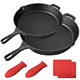 BAYKA Cast Iron Skillet Pre-seasoned 10\ & 12\ Cast Iron Pans with 2 Heat-Resistant Holders & 2 Silicone Mats Oven Grill Stovetop Induction Safe Cookware Great for Sautes and Stir Fry