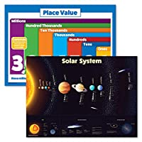 2枚パック – ソーラーシステムポスター 子供用 & プレースバリュー 数学チャート ラミネート加工 18インチ x 24インチ