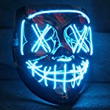 LED Purge Maske mit 3 Blitzmodi - perfekt geeignet als Techno DJ | Halloween | Karneval | Fasching...