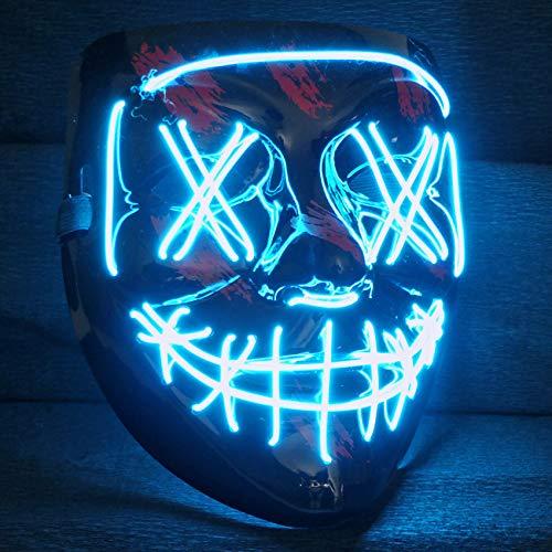 LED Purge Maske mit 3 Blitzmodi - perfekt geeignet als Techno DJ | Halloween | Karneval | Fasching als Ergänzung zum Horror Kostüm (Blau)