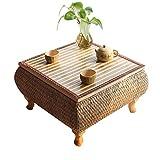 Tische Kaffeetische Couchtisch Beistelltisch Bambus Kleiner Zen-Teetisch Japanische Rattan-Tatami-Couchtische Einfacher Balkontisch Handgewebter Fenstertisch Beistelltische