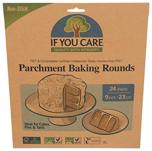 If You Care Parchment Paper Rounds for Baking Cakes, Pies, Tarts – Pack of 24 Circle Liners - Unbleached, Chlorine Free, Greaseproof, Silicone Coated – 9 Inch Diameter