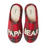 Dearfoams Men's Papa Bear Slipper, Tartan Plaid, Large