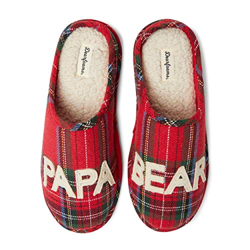 Dearfoams Men's Family Collection Papa Bear Plaid Clog, Red Plaid, Medium M US