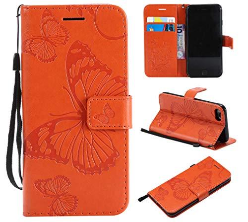 THRION Apple iPhone 7 / iPhone 8 Hülle, PU Schmetterling Brieftaschenetui mit magnetischer Handschlaufe und Ständerhalterung für Apple iPhone 7 / iPhone 8, Orange