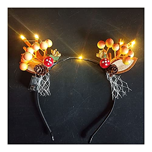 LINMAN DIRIGIÓ Flashing Reno Cuerno Mushroom Headband Adorno de Pelo Headwear Light Pascua Boda Valentín Día Fiesta de cumpleaños (Color : 1 (8))
