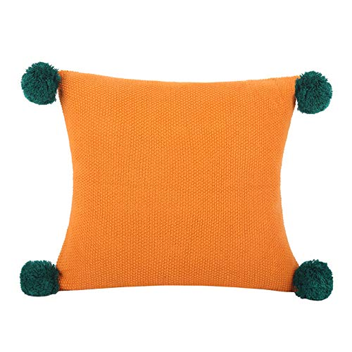 Dibiao Home Office Car Couch Decorative Knitted Pillow Case Throw Pillow Cases Handwoven Decorative Pillow Cover with Pompoms Tassels for Indoor Outdoor Square Tassel Pillow Cover