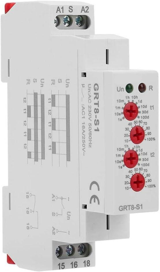 AC 220V GRT8-S1 Temporizador de ciclo asimétrico ON/OFF Repetir ciclo Tiempo Relé