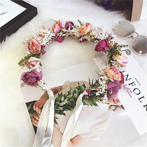 QCBC Hochzeitshaarkranz, Blumenkranz aus Kunstblumen für Braut/Brautjungfer/Urlaub, Blumen-Brauthaarschmuck, Hochzeitskopfschmuck mit Blumen
