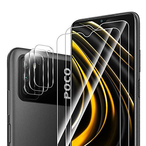 ELYCO für Xiaomi Poco M3 Panzerglas Schutzfolie+ Kamera Schutzfolie, [2+3 Stück] 9H Härte Gehärtetes Glas Panzerglasfolie Bläschenfrei Anti-Öl/Anti-Kratzer Displayschutzfolie für Xiaomi Poco M3