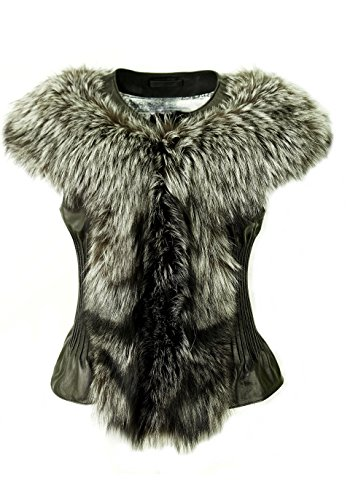DX-Exclusive wear Damen Lederweste,Pelzweste/Gilet, mit Fuchs-Pelz Weste/KK-0009 (42)
