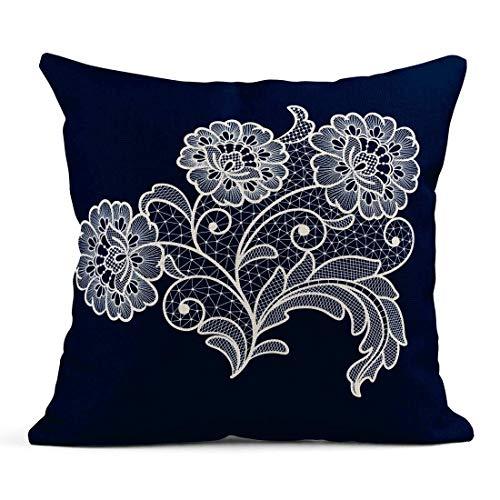 Cojín Patrón Flores de Encaje Crochet Victoriano Adornado Costura Retro Cojín de Lino Hogar Decorativo Almohada