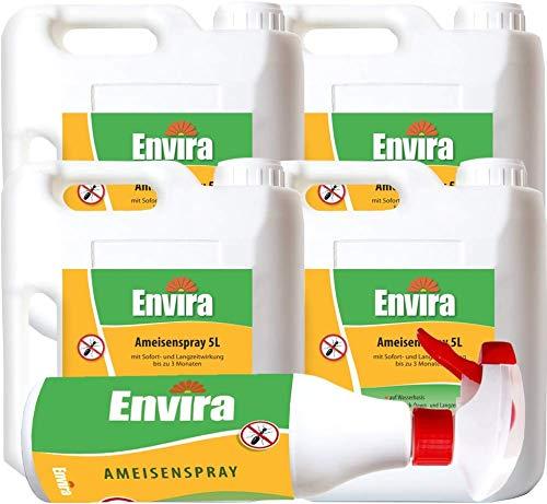 Envira Ameisen-Spray - Anti-Ameisen-Mittel Mit Langzeitwirkung - Geruchlos & Auf Wasserbasis - 4x5Ltr+500ml