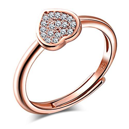 Unendlich U Klassisch Herz 925 Sterling Silber Zirkonia Offener Ring Hochzeit Verlobungsring Verstellbar Größe 49 bis 57, Rosegold