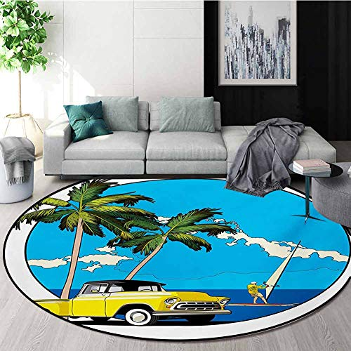 Why Choose RUGSMAT Retro Computer Chair Floor Mat,Graphic Design Nostalgic Chevy Car and A Sailer Gu...