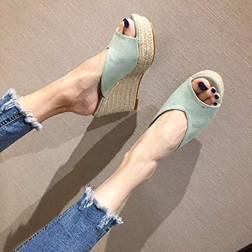 CCJW Glamour Delgado de Las Chancletas, Sandalias de cuña, Tejido de Color Zapatillas-luz de Hilo sólidos Ante Green_38, Zapatos de la Piscina de Agua kshu
