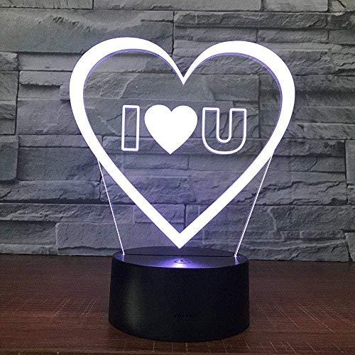 YOUPING Luz nocturna 3D 3D, luz de visión, 7 variantes de colores, luz decorativa infantil (Love) A-183