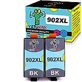 YATUNINK Compatible 902 Ink Cartridges Replacement for HP 902 XL 902XL Black Ink Cartridges Work for HP OfficeJet 6958 6951 6956 6963 6966 OfficeJet Pro 6968 6960 69716975 6979 Printers(2Black)