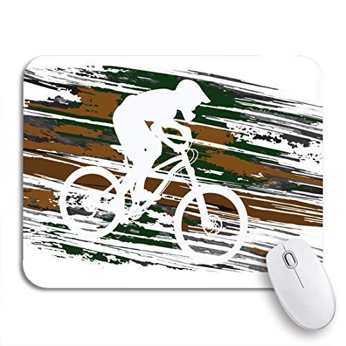 GLONLY Silueta de Ciclo de Motociclista Que desciende en la Pendiente de Bicicleta de montaña,Alfombrilla Raton Alfombrilla Gaming Alfombrilla para computadora