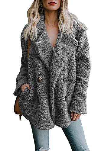 OranDesigne Damen Mantel Plüsch Jacke Revers Faux Wolle Warm Winter Outwear Stylische Zweireiher Übergroße Coat mit Taschen Grau DE 42