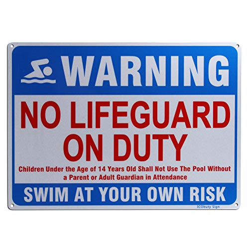No Lifeguard On Duty Schild Pool Rules Schild No Glass Allowed in Pool Area Schild Reflektierende Schilder 25,4 x 35,6 cm Rostfreies 40 Mil Aluminium Schild (No Lifeguard On Duty)