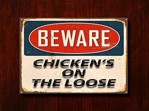 43LenaJon Beware Chickens On The Loose Street Sign, Outdoor Creative Metal Signs Men grotte