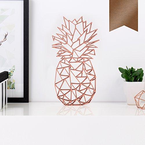 KLEINLAUT 3D-Origamis aus Holz - Wähle EIN Motiv & Farbe - Ananas - 10,6 x 20 cm (M) - Kupfer