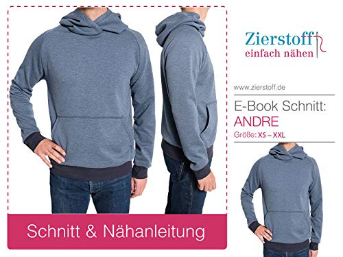Zierstoff einfach nähen Schnittmuster, Männershirt, Kapuzensweatshirt Andre, Gr. XS bis XXL - digital