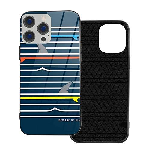 Funda de protección compatible con iPhone 12 / iPhone 12 Pro Case Blue Shark Surf Tee Graphics Rojo Verano Playa/Funda de vidrio templado