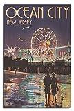 Lantern Press Ocean City, New Jersey - Pier and Rides at Night (10x15 Wood Wall Sign, Wall Decor Ready to Hang)