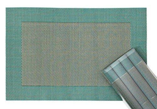 makami Juego de 4 manteles Individuales Elegantes en plástico (45 x 30 cm) - Lavable y Resistente Salvamanteles para Comedor (Turquesa-Oro)