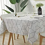 Rectangle/Oblong Tablecloth Geometric Style Cotton Linen Table Cloth Dust-Proof Table Cover Eco-Friendly
