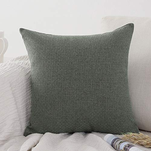 Jepeak Comfy Throw Pillow Cover Rattan Weaved Pattern Cushion Case, Solid Thickened Soft Polyester Linen Farmhouse Modern Decorative Pillow Case for Sofa Couch Bed (Dull Spruce Green, 24 x 24 Inches)