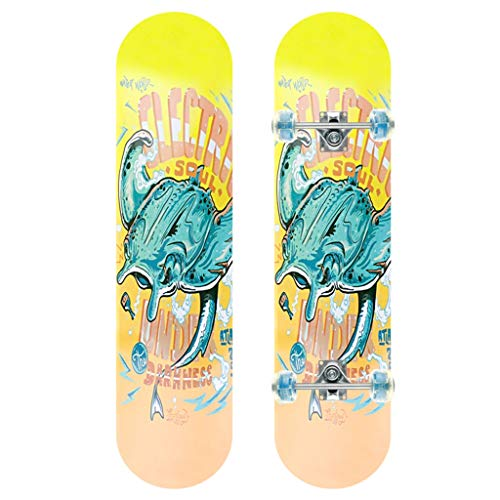 GDF-SKATEBOARDS Skateboard standaard skateboard met 4 LED verlicht wiel kort bord concave dek slijtvast schuurpapier oppervlak interesse in outdoor-sporten ontwikkelen