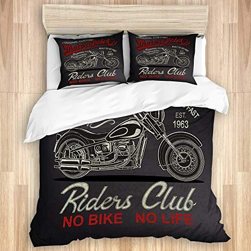 PANILUR Bettwäsche Set,Klassische Vintage Motorrad Antik Biker Schwarz Car Club Custom Drive,1 Bettbezug 200x200cm+2 Kopfkissenbezug 50x80cm